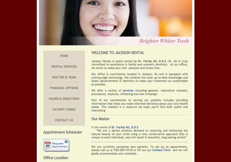Website for Jackson Dental NJ