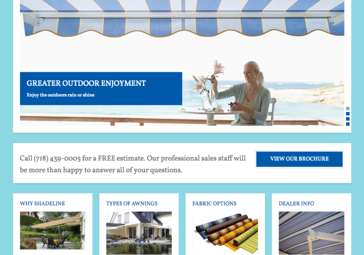 Website for Shadeline Awnings